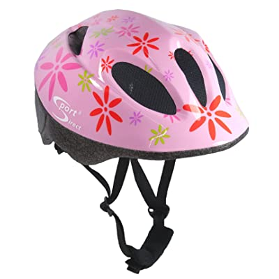 Sport Direct Casque de vélo pour enfant rose motif à fleurs, 48–52cm