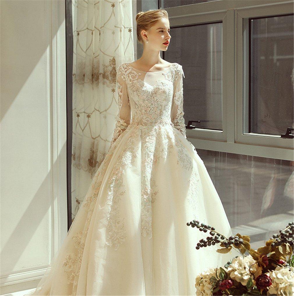 Amazon Elegence Z Thin Long Sleeved Wedding Dress Palace Dream