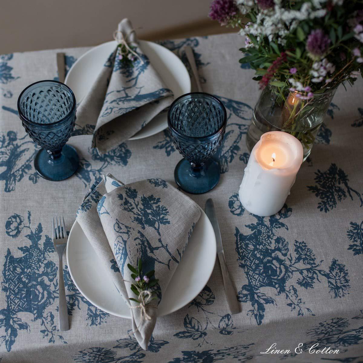 Beige Blu Tovaglioli di Stoffa Lavabili Vintage Decorazione Domestica per Cucina Tavolo da Pranzo Soggiorno 43 x 43 cm Linen /& Cotton Tovaglioli da Tavola Floreali Shabby Chic Flores 100/% Lino