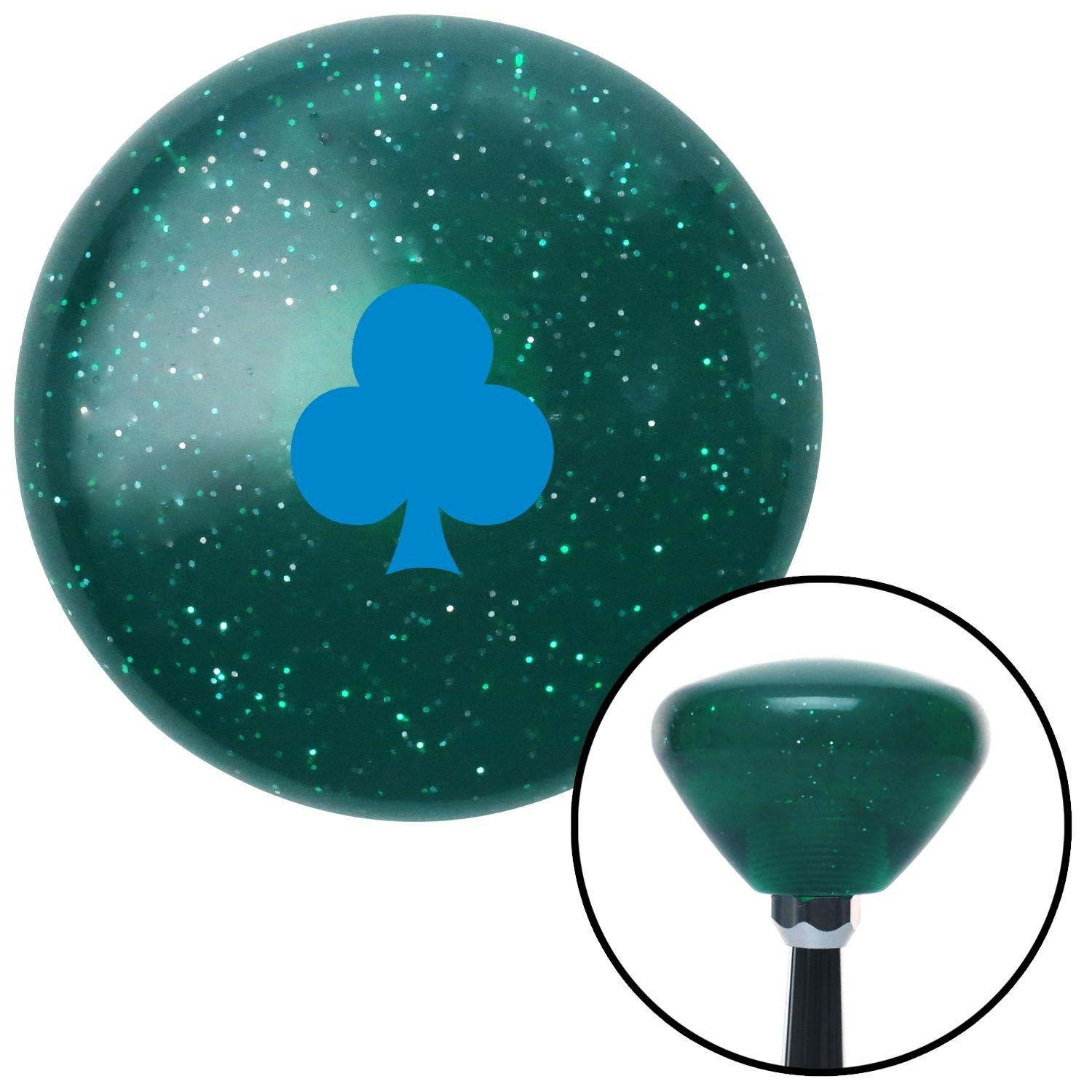 American Shifter 291536 Shift Knob Blue Clubs Green Retro Metal Flake with M16 x 1.5 Insert