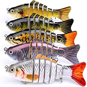 nobrand Five 10cm/3.93Bionic Swimming Lure,7 Segment,Lifelike Multi Jointed Artificial Swimbait, Suitable for All Kinds of Fish