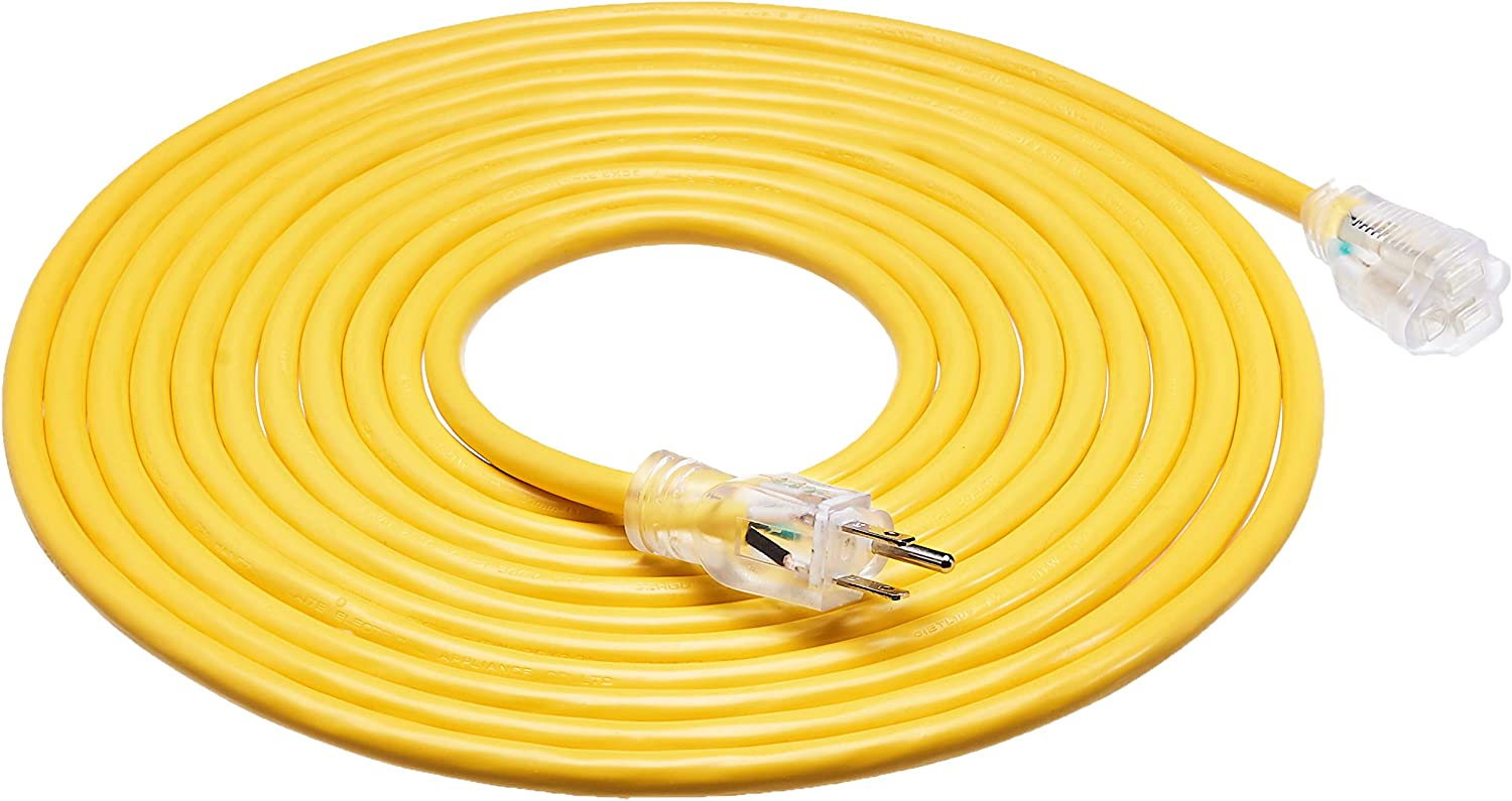 AmazonBasics 12/3 Heavy Duty SJTW Lighted Extension Cord, Yellow, 25 Foot