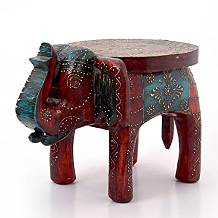 Brilliant Little India Designer Wooden Elephant Stool Handicraft Gift 304 Brown Onthecornerstone Fun Painted Chair Ideas Images Onthecornerstoneorg