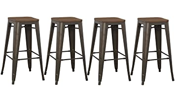 BTExpert Bar Stool, Modern Solid Steel Stacking Industrial Rustic Metal  With Wood Top Set Of