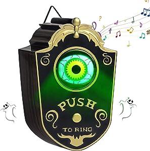 Halloween Doorbell Decoration, Animated One-eyed Lightup Eyeball Door Bell with Spooky Sounds Door Rings for Halloween Party Haunted House Props Decor
