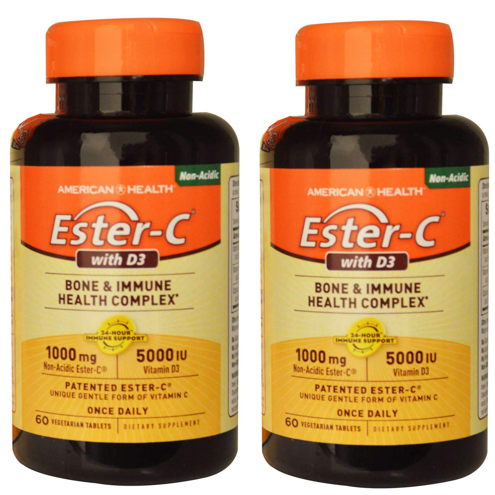 Ester-C with D3 Bone and Immune Health Complex with 1000 Milligrams of Non-Acidic, Patented Ester-C and 5000 IU of Vitamin D3 in a Unique, Gentle, Once Daily Form (60 Vegetarian Tablets) Pack of 2