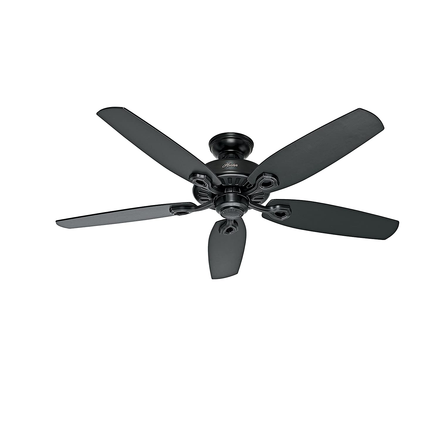 Hunter Fan 52in Ceiling Fan in Matte Black with Matte Black Reversible Fan Blades Renewed