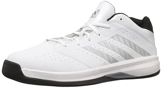 adidas Performance Men's Isolation 2 Low Basketball Shoe,White/ Silver/  Black,11