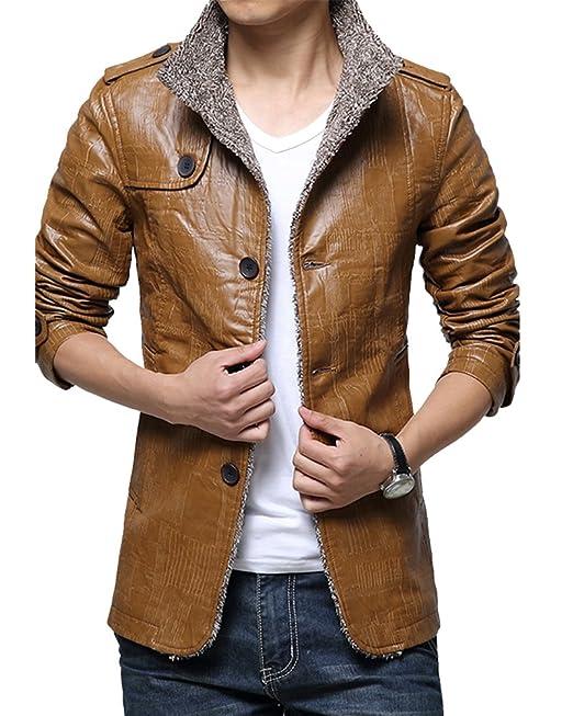PengGeng Giacconi Invernali Uomo Giaccone Caldo Giacca di Pelle Cappotto  Spesso  Amazon.it  Abbigliamento 395a47c2755