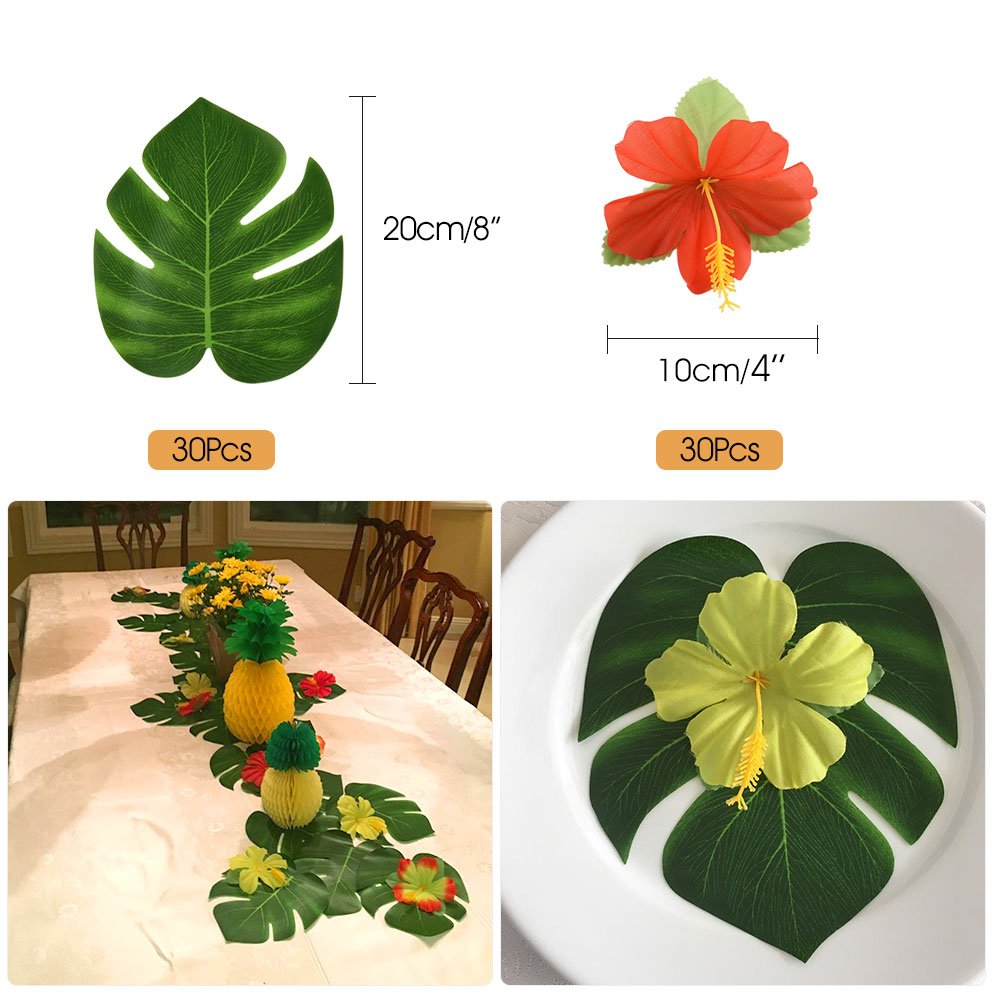 FEPITO 184 PCS Tropical Hawaiian Party Decorations Includes Tropical Palm Leaves, Hibiscus Flowers, Drink Umbrella Picks, Colorful Fruit Straws and Cupcake Toppers for Luau Party Decorations Supplies by FEPITO (Image #2)