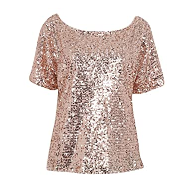45e6ef40ba6 Soly Tech Women Shiny Sequin 3 4 Sleeve Bling Loose Blouse T-Shirt Tops