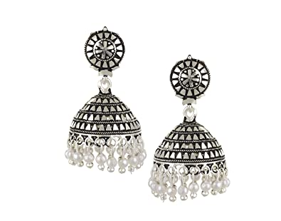 faf7303b4 Buy TAZS Oxidized Silver Elegant Design Jhumki Earrings for Women and Girls  Online at Low Prices in India | Amazon Jewellery Store - Amazon.in