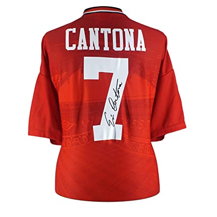 fa42cbf0b Image Unavailable. Image not available for. Color  Eric Cantona Signed Manchester  United 1996 Home Jersey