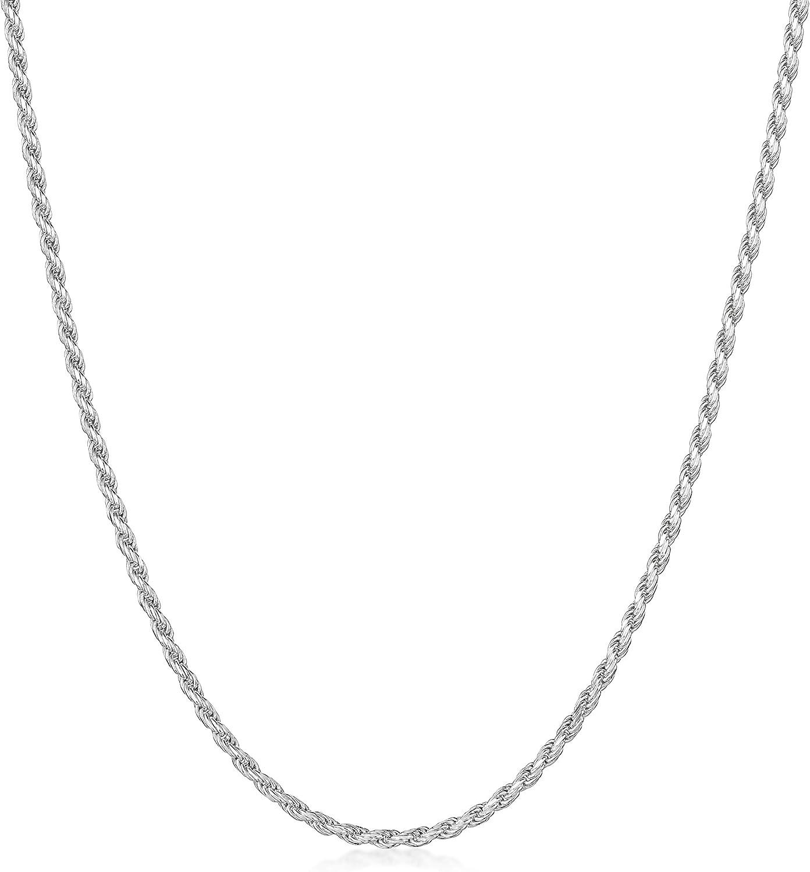 Amberta/® Bijoux Longueur 40 45 50 55 60 cm Largeur 1.5 mm Cha/îne Argent 925//1000 Maille Corde Collier