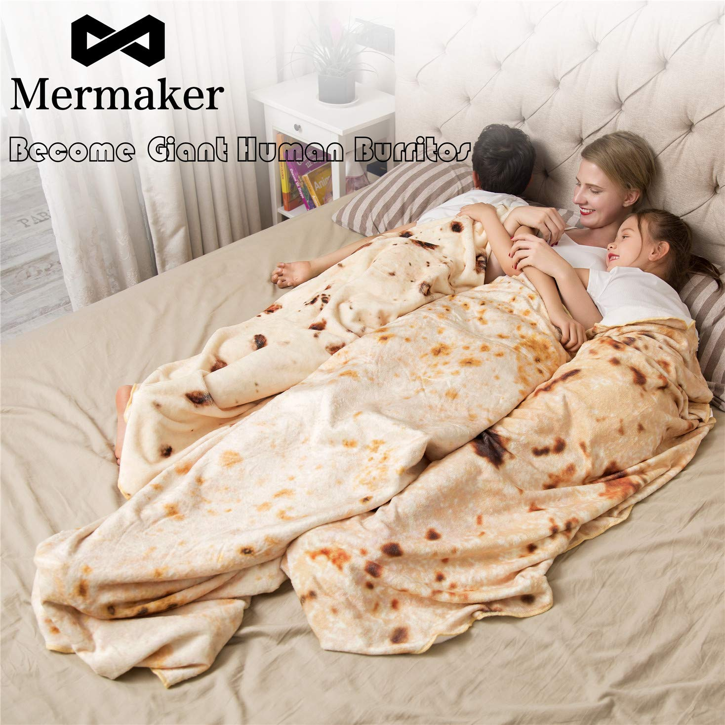mermaker Burritos Tortilla Blanket, Realistic Burritos Wrap Giant Round Blanket, Novelty Soft Flannel Food Tortilla Blanket for Adults (80'' Diameter, Yellow-4) by mermaker (Image #2)