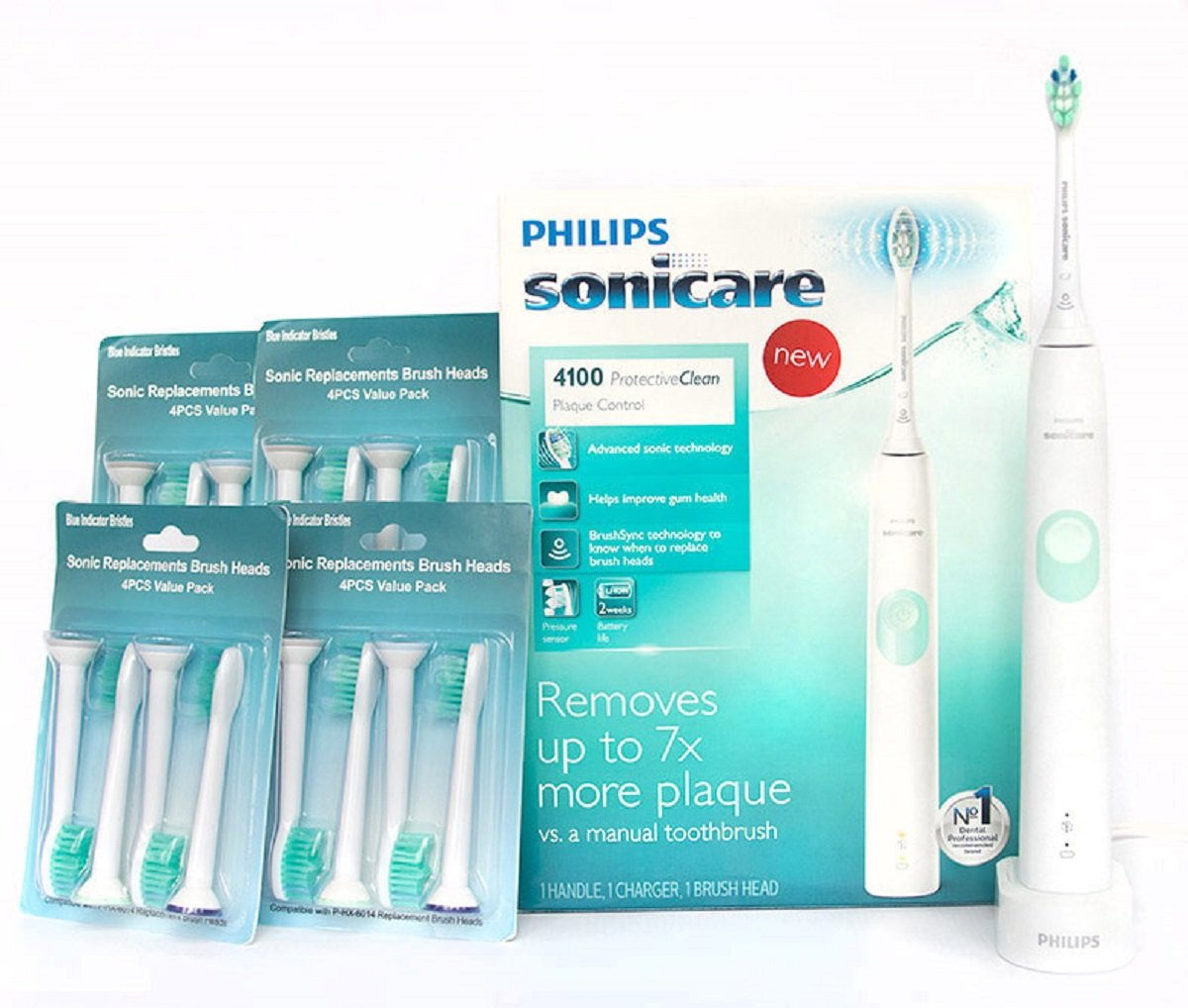 Philips Sonicare Rechargeable Electric Toothbrush ProtectiveClean 4100 Plaque Control With Pressure Sensor, White Mint HX6817/01 and Sonic Replacement Brush Heads 4-pack -Set of 5