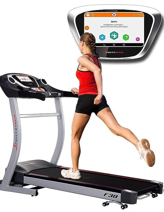 Sport 1590 - Cinta de correr profesional F50 con riesigem 18,5 pulgadas Android LCD, pantalla táctil, más de 18 km/h, soporte para Tablet, USB, ...