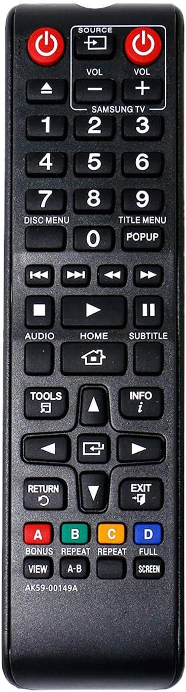 VINABTY AK59-00149A Reemplazo del Control Remoto para Samsung DVD BD-E5500 BD-ES5000/EN BD-F5100 BD-F5500 BD-F5800/XN BD-H5500 BD-J4500 BD-J5500 BD-H5900 BD-J5700 BD-J5900 BD-JM57C