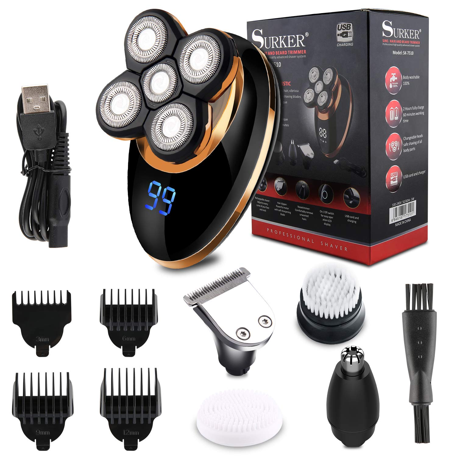 4-In-1 Electric Shaver for Men, Cordless Wet/Dry Rotary Razor Beard Trimmer Set