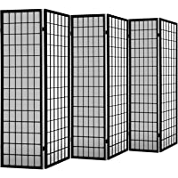 Artiss 6-Panel Room Divider Timber Partition Foldable Fabric Privacy Screen - Black