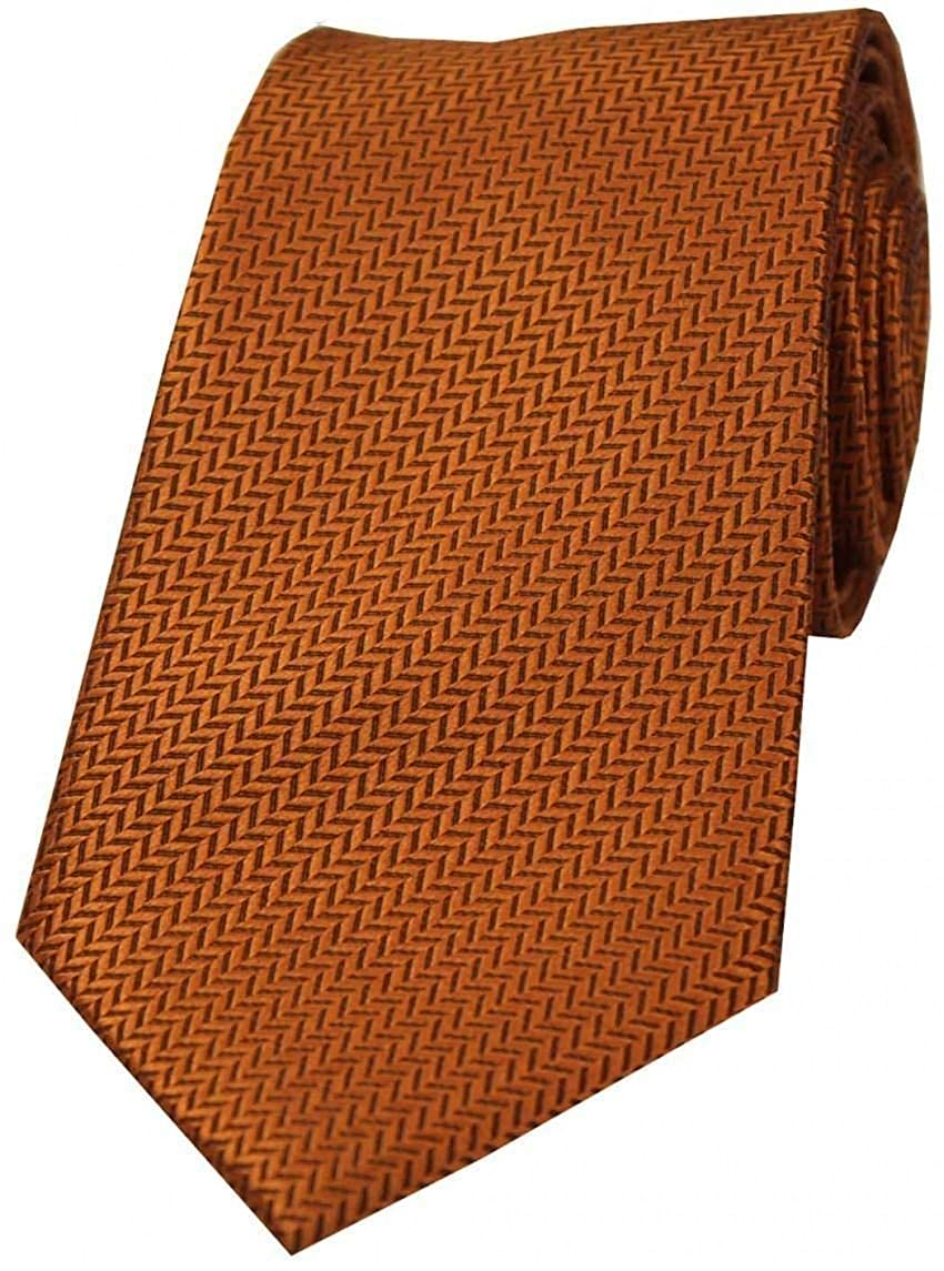 David Van Hagen Mens Herringbone Silk Tie Rust Brown