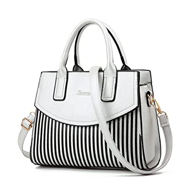 NWT Women Top Handle Bags Bowling Bag Faux Leather Stripe Satchel Shoulder  Handbags, White  Handbags  Amazon.com 4871574735