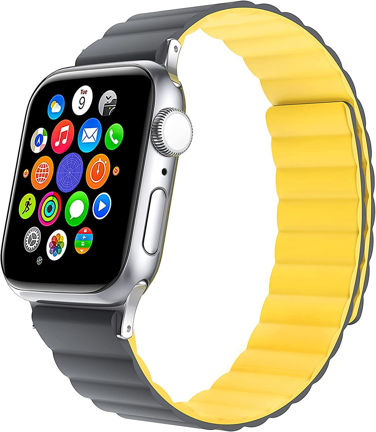 KAHHA Apple Watch Magnetic Bands Compatible with iWatch Series SE 6 5 4 3 2 1 38mm 40mm 42mm 44mm Silicone Strong Magnetic Adjustable Smartwatch Straps for Women and Men