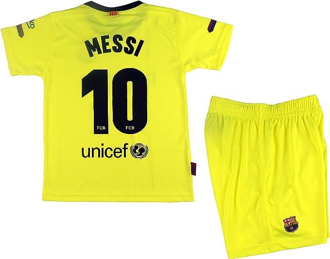 Kit Segunda Equipación Infantil Leo Messi del FC Barcelona Producto Oficial Licenciado Temporada 2018-19 - Talla 12, Amarillo Fluor: Amazon.es: Ropa y accesorios