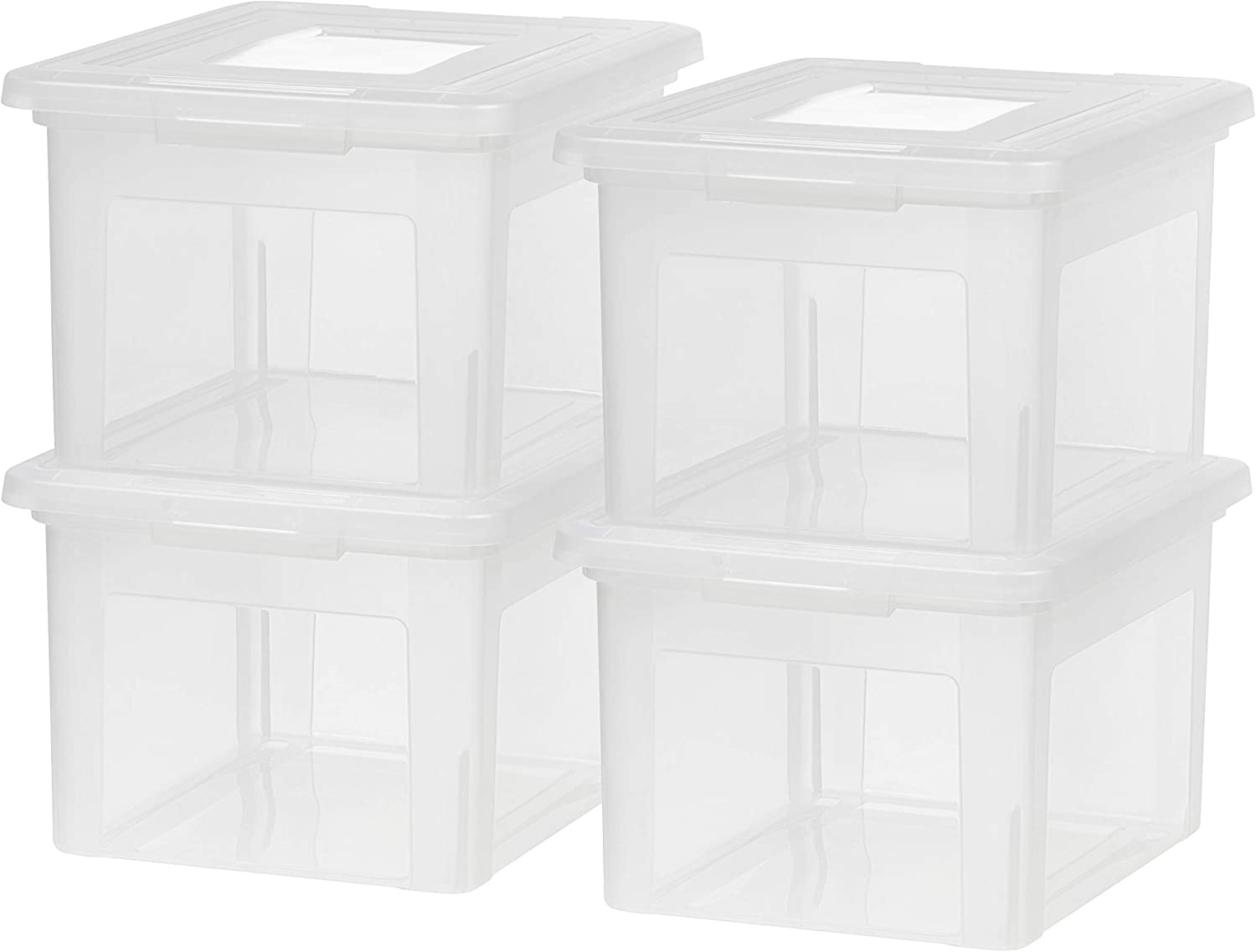 IRIS USA FB-21EE Letter and Legal Size File Box, Letter & Legal, Clear, 4 Pack: Home & Kitchen