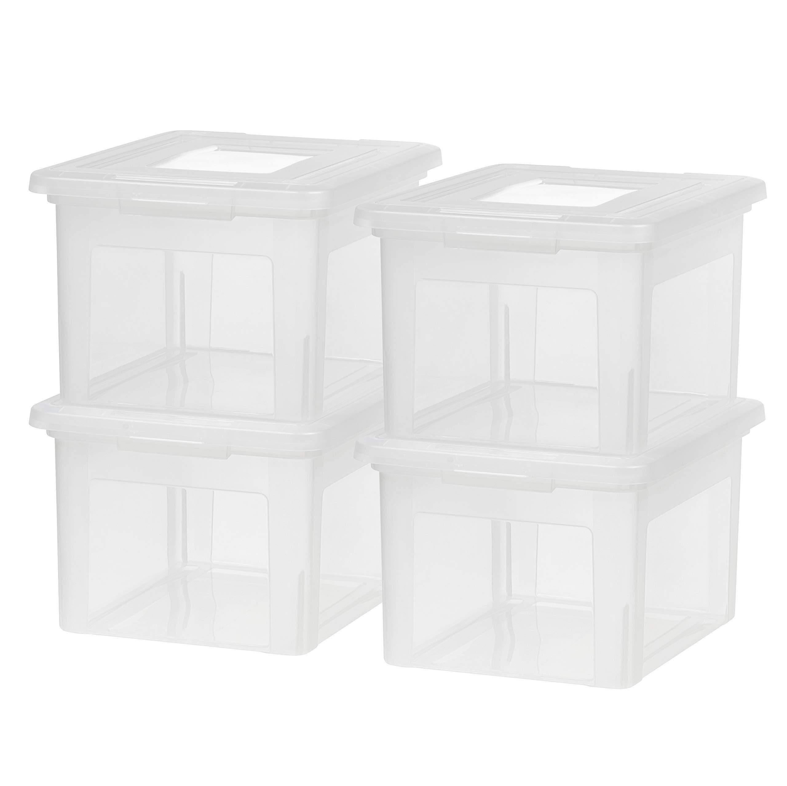 IRIS USA FB-21EE File Box, 35 QT, Clear, 4 Pack