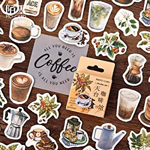 Small Size Laptop Stickers, 45pcs Doraking Boxed DIY Decoration Coffee Theme Stickers for Laptop, Planners, Scrapbook, Suitcase, Diary, Notebooks, Album(Cafe, 45pcs/ Box)
