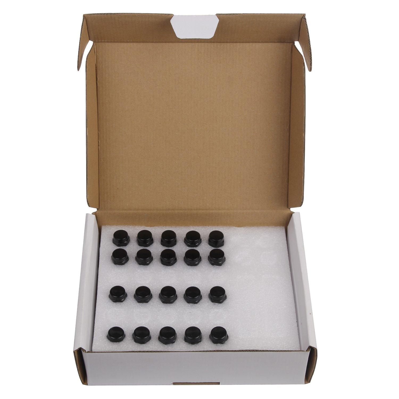 HLZZ SL-N005 20x Carbon Steel Black 12x1.5 Closed End Wheel Lug Nuts 1.39 Tall 19mm Hex Wheel Lug Nuts for Cone Seat