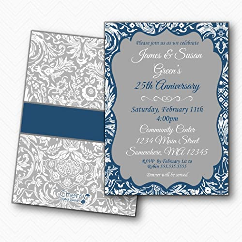 amazon com 25th anniversary party invitations fancy damask