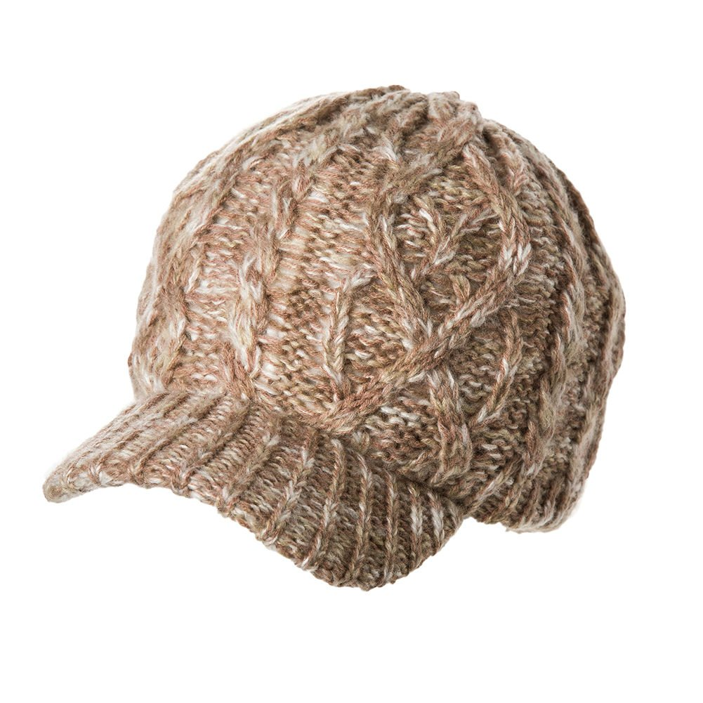 SIGGI Womens Knitted Visor Beanie Winter Newsboy Cap Cotton Lined Warm Acrylic Comhats CM69242-1