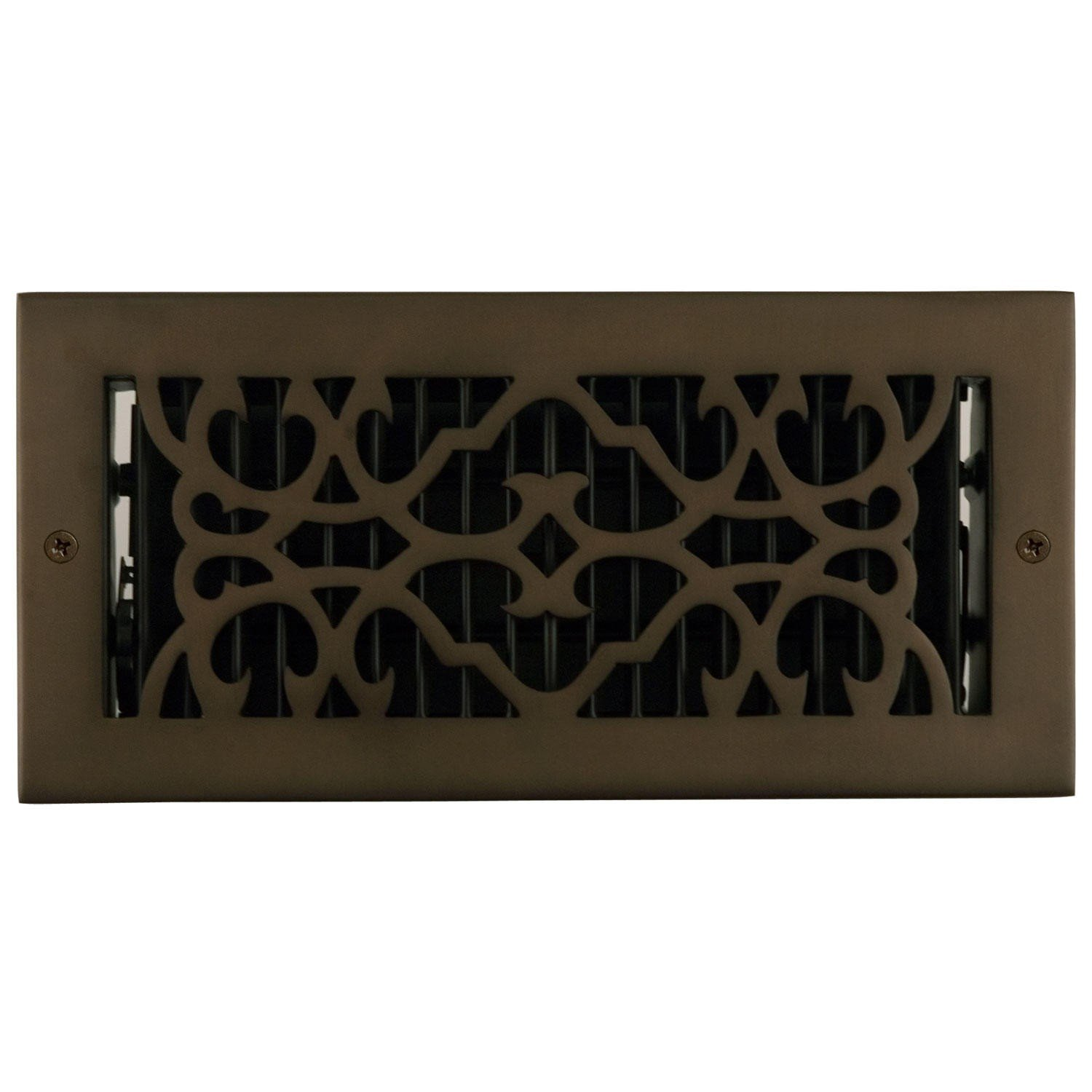 Naiture 4'' x 10'' Solid Brass Wall Register Traditional Style Oil Rubbed Bronze Finish