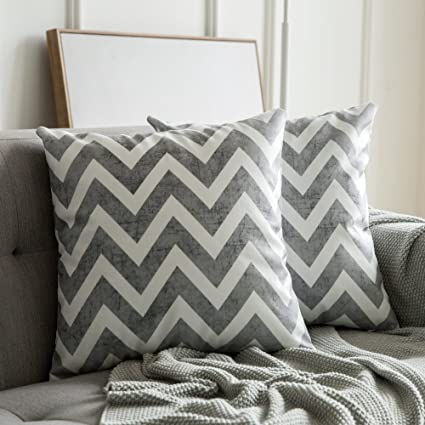 MIULEE Fundas de cojín para sofá Gamuza Sintética Almohada Caso de Diseño Geométrico Decorativas Fundas Cojines Gris 45x45 cm/18X18 2 Piezas
