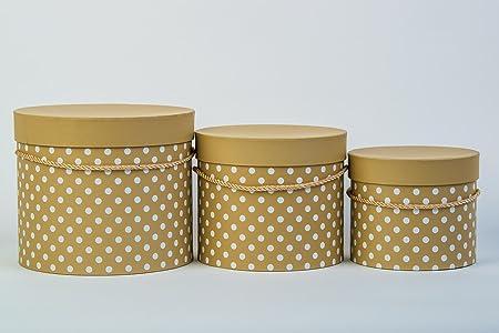 Vipolimex – Lote de 3 cajas con decoración de puntos, caja de regalo con cordón dorado, con tapa, sombrero y caja de almacenamiento – Gelb-Braun: Amazon.es: Hogar