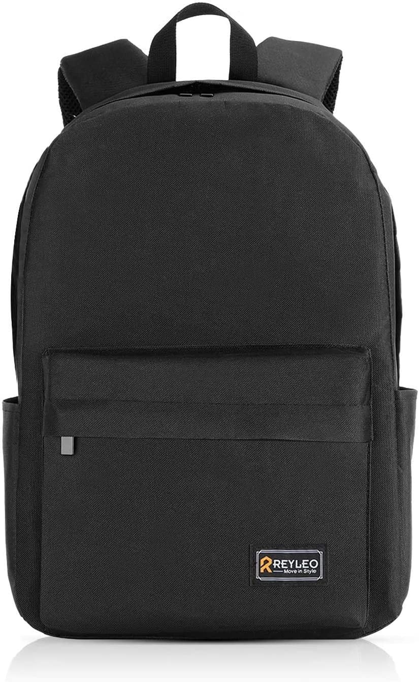 REYLEO Unisex Nylon Laptop Backpack, Waterproof Schoolbag, Fits 15.6 Inch Laptop, Travel Business College Casual Daypack for Students/Men/Women, 20L, Black