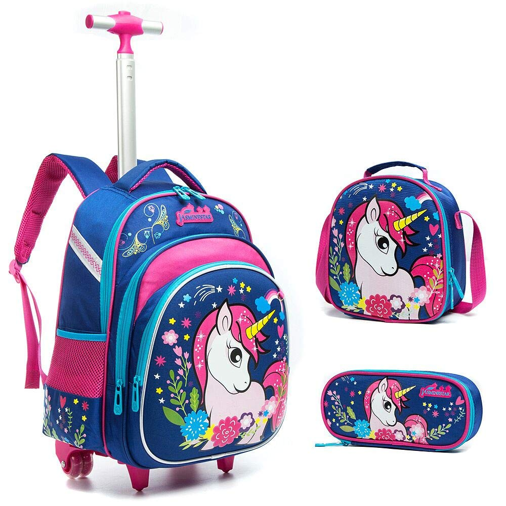 Meetbelify 3Pcs Rolling Backpack for Girls with Lunch Bag Pencil Case School Bags Wheeled Unicorn Rolling Backpack by Meetbelify