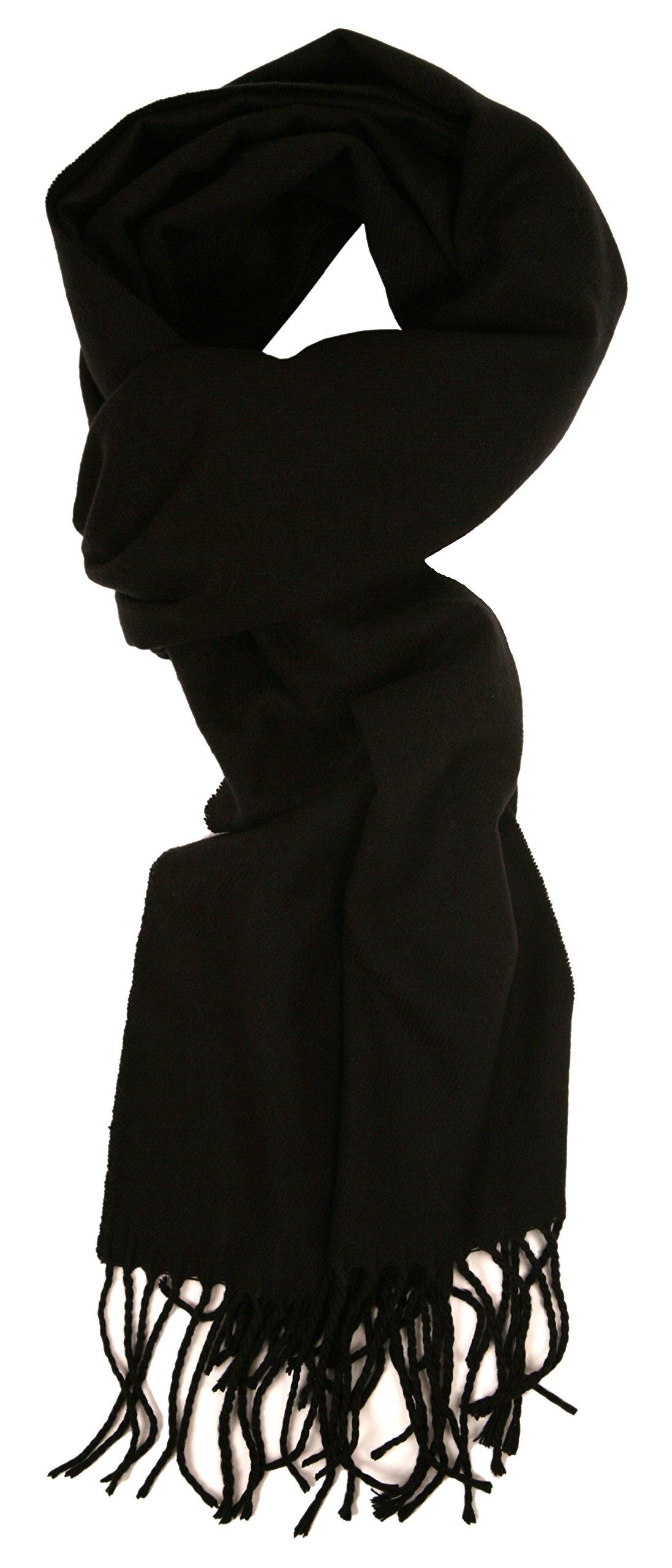 Love Lakeside-Men's Cashmere Feel Winter Solid Color Scarf 00-0 Black