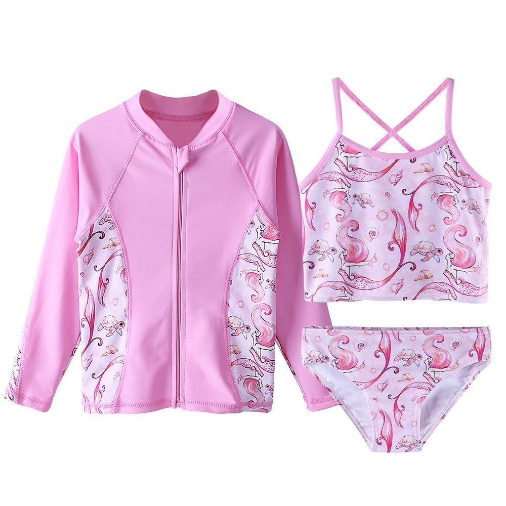 TFJH E Girls Swimsuit SPF UPF 50+ UV 3PCS Mermaid Print Rash Guard Sunsuits 3-12Y