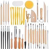 BENECREAT 40PCS Clay Sculpting Tools Keramik Carving Tool Set - beinhaltet Clay Color Shaper, Modellierwerkzeuge & Holzskulptur Messer fur Profis oder Anfanger