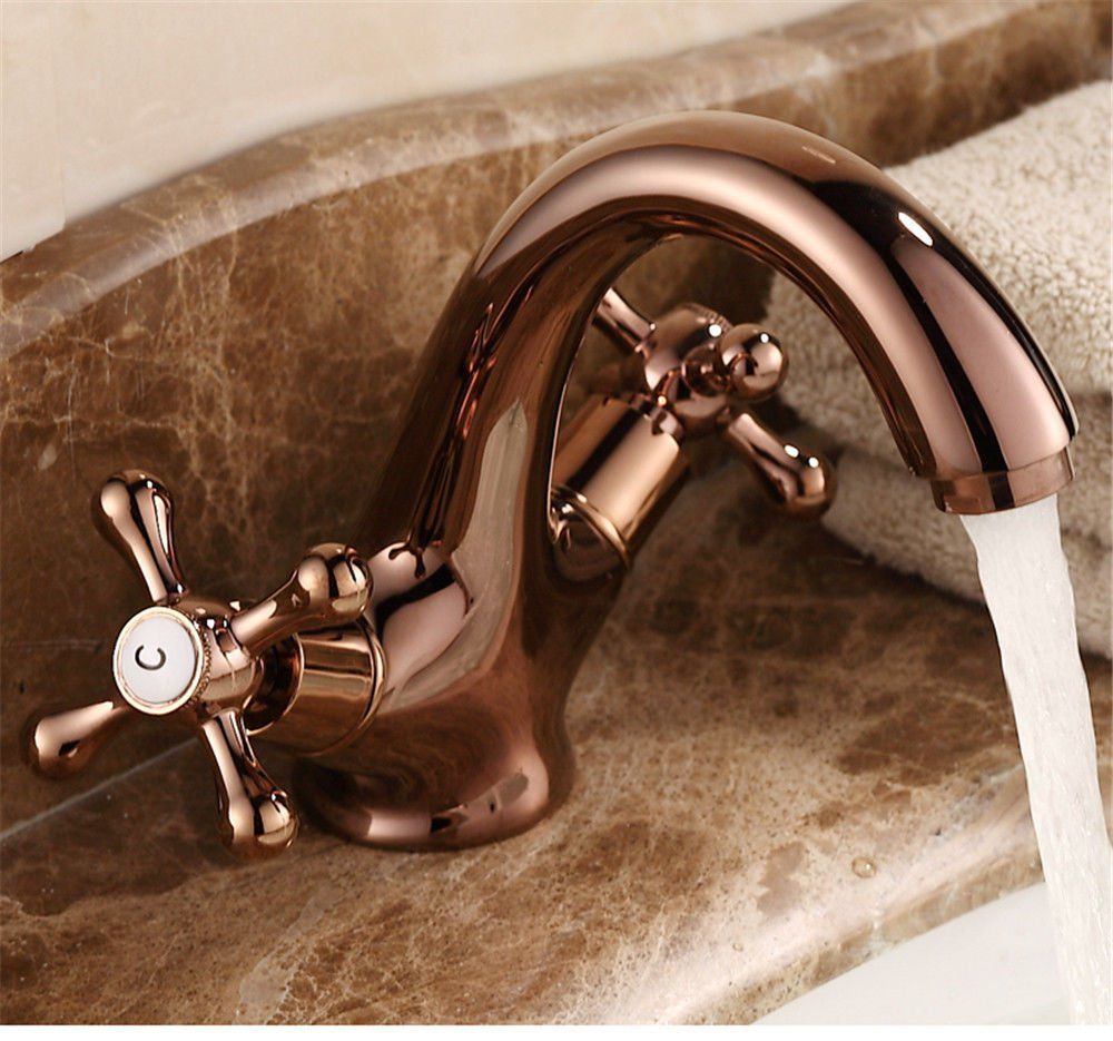 XPYFaucet Faucet Tap Taps All-copper European pink gold hot and cold double basin wash basin universal hot and cold chrome
