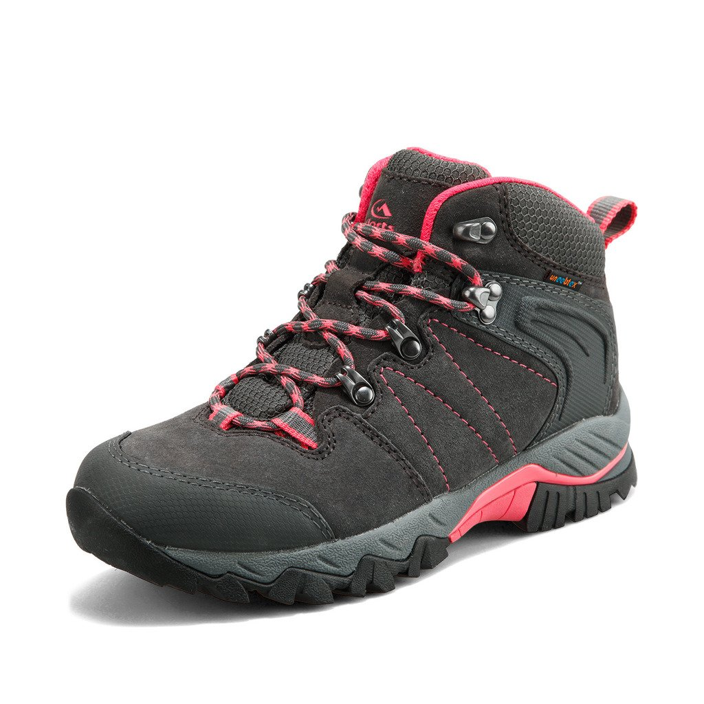 Clorts Women's Hiker Leather Waterproof Hiking Boot Outdoor Backpacking Shoe Grey HKM-822B US5.5