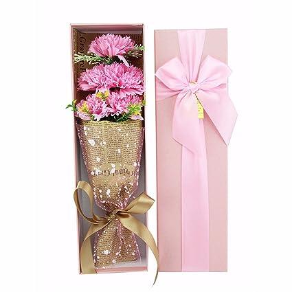 Día de San Valentín regalos, cinco claveles, jabón, flores, pajarita, cajas