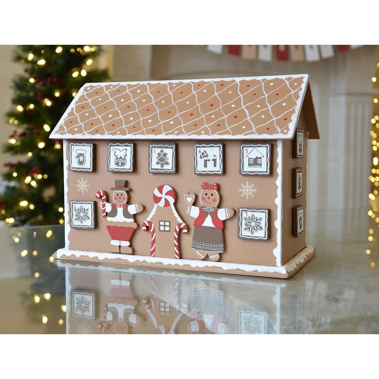 Wooden Gingerbread House Advent Calendar 32.5cm x 26cm