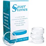 Sauer Stones - Glass Fermentation Weights for Mason Jar Fermentation, Preservation and Pickling - Fits ANY SMALL/REGULAR MOUTH MASON JAR - 4 Pack