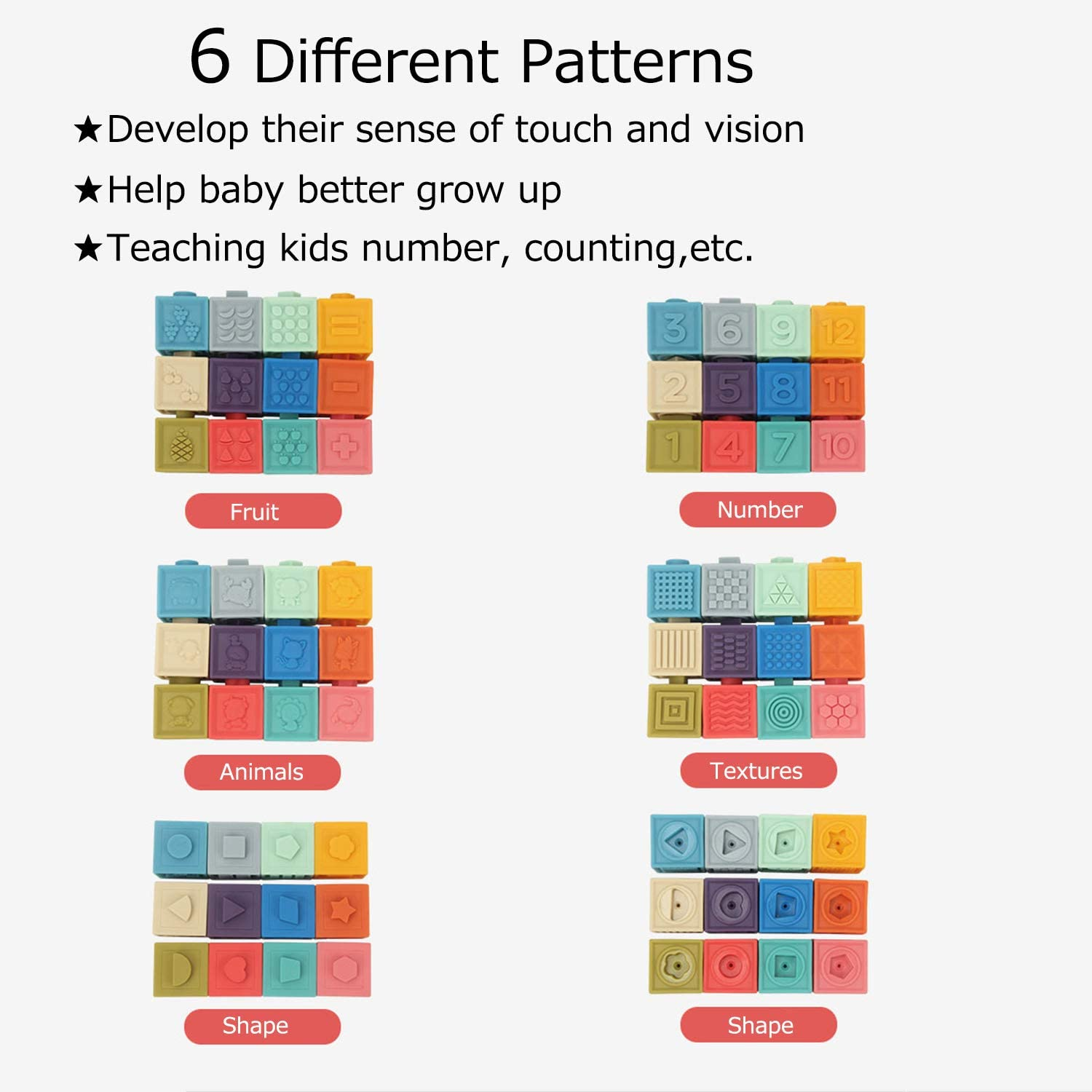 Educational Baby Toys with 6 Different Patterns 12 PCS Soft Building Blocks for Toddlers Winfavor Baby Blocks Animals, Shapes, Fruits, Textures, Numbers for Babies Toddlers Boys /& Girls