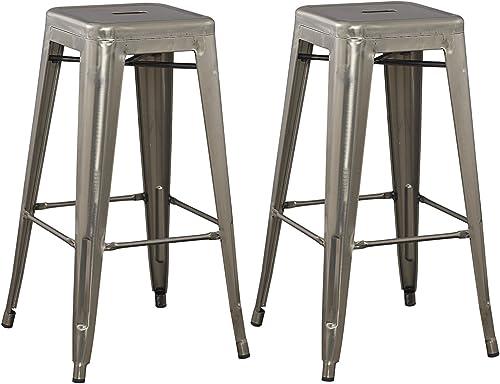 BTEXPERT Solid Steel Stackable Industrial Distressed Rustic Gun Metal Tabouret Dining Room Modern Steel Barstool Set of 2 Bar Stool