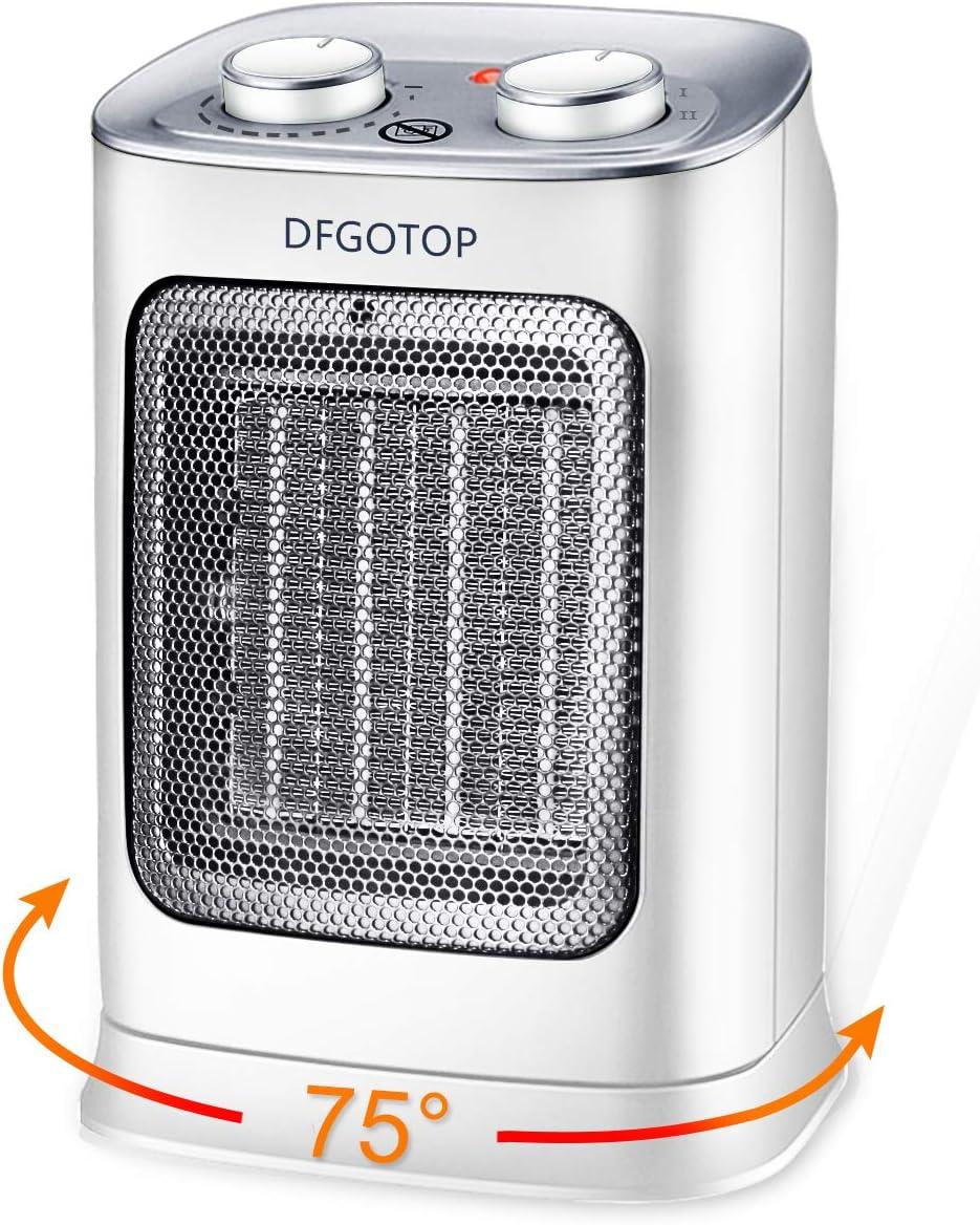 DFGOTOP Mini Calefactor Eléctrico Cerámico Baño, Calefacción Eléctrica Silenciosa Bajo Consumo, Portátil Calefactores Aire Caliente Pequeño Blanco